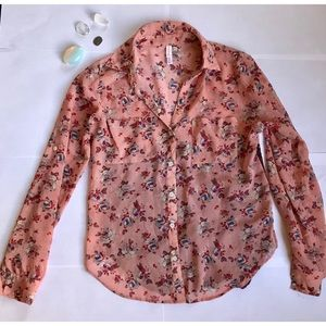 Flowery and Lace Button Down Long Sleeve Top
